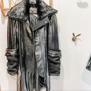 Midi length Rudsak leather, wool and fur collar